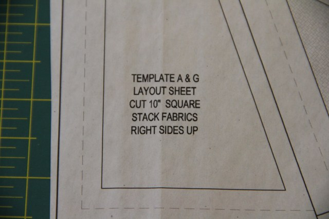 "There are helpful notes on the template layout sheets - this one requires 10"" squares and all fabrics to be stacked right side up"