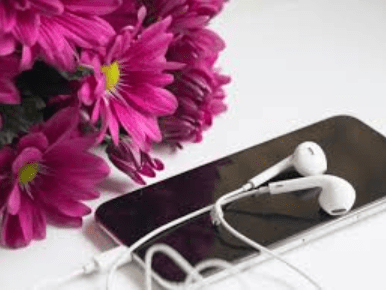Phone Headphones Flowers Are You Listening