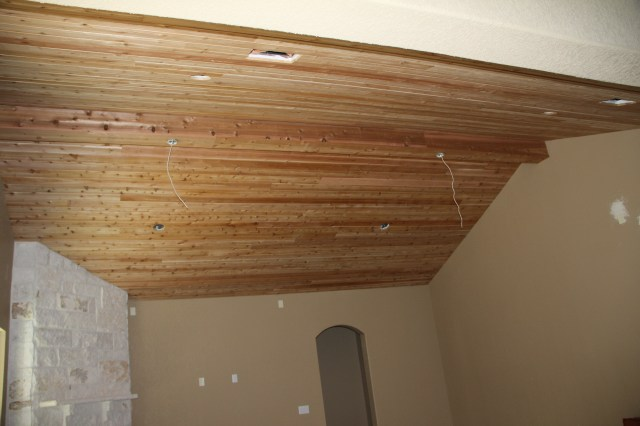 The center beam has been covered in cedar - love!