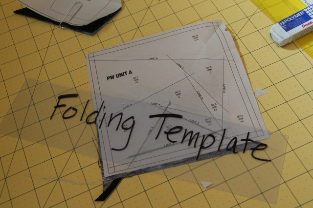 Place your folding template on SOLID line 4 and fold.