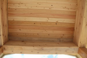 Cedar ceiling on the front porch