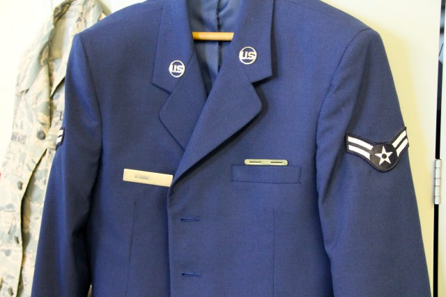 Our airman could not wait to hang up his jacket!  For his weekend leave he will remain in dress blues sans the jacket