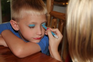 Is that make-up on the boy-child?  No we are face painting!