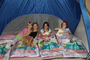 A soccer tent provided a great indoor camping experience for the girls