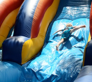The first year they have the water slide - that is Mr. B!