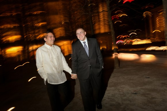 Nico and Michael at Lincoln Center before their reception.