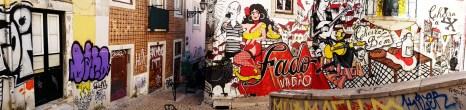 Panorama shot of the Fado Vadio graffiti mural