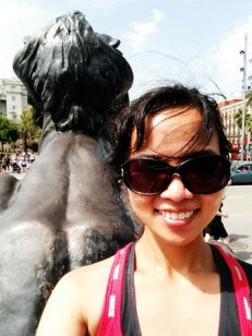 In front of a statue's butt :o