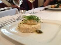 Seared scallops, crab risotto, caper butter sauce