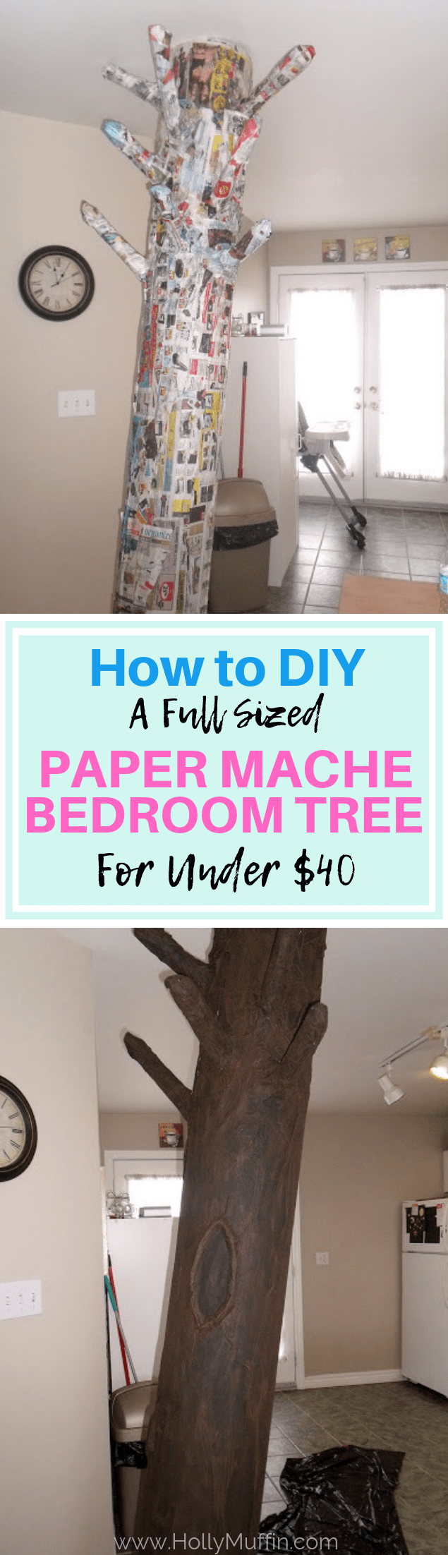 DIY a full sized paper mache bedroom tree! A super inexpensive way to add something fun to a room! #roomdecor #kidsroom