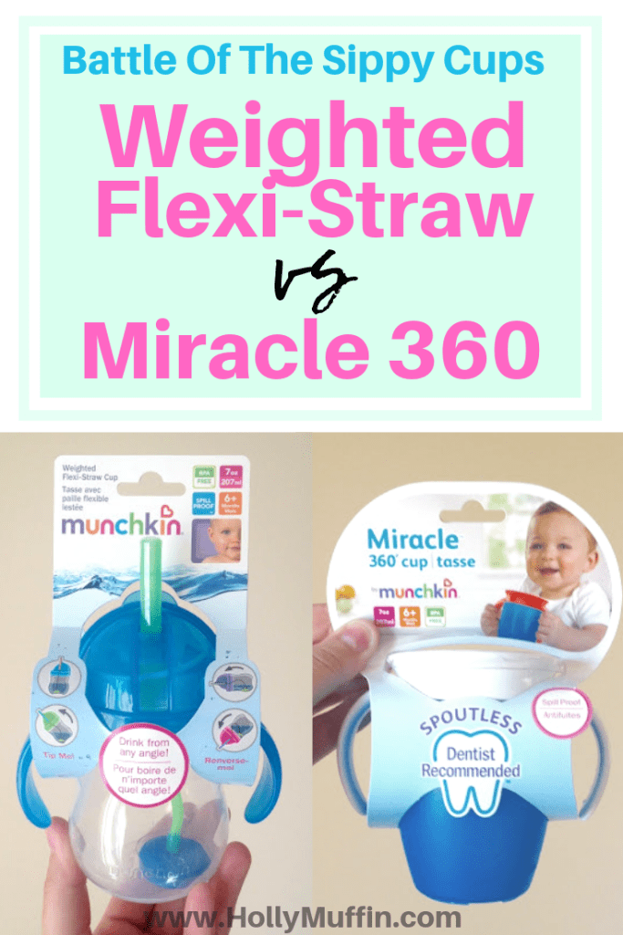 Battle of the sippy cups! See if the weighted flexi straw or miracle 360 cup wins!