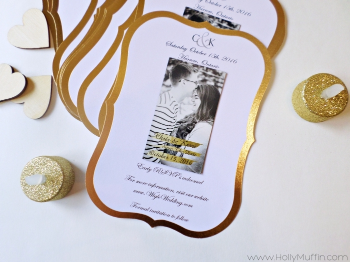 simple gold save-the-dates