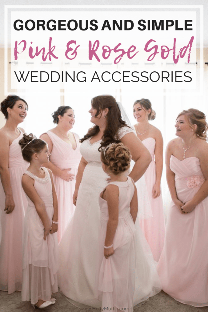 Gorgeous and simple pink and rose gold wedding accessories. #rosegold #realweddings