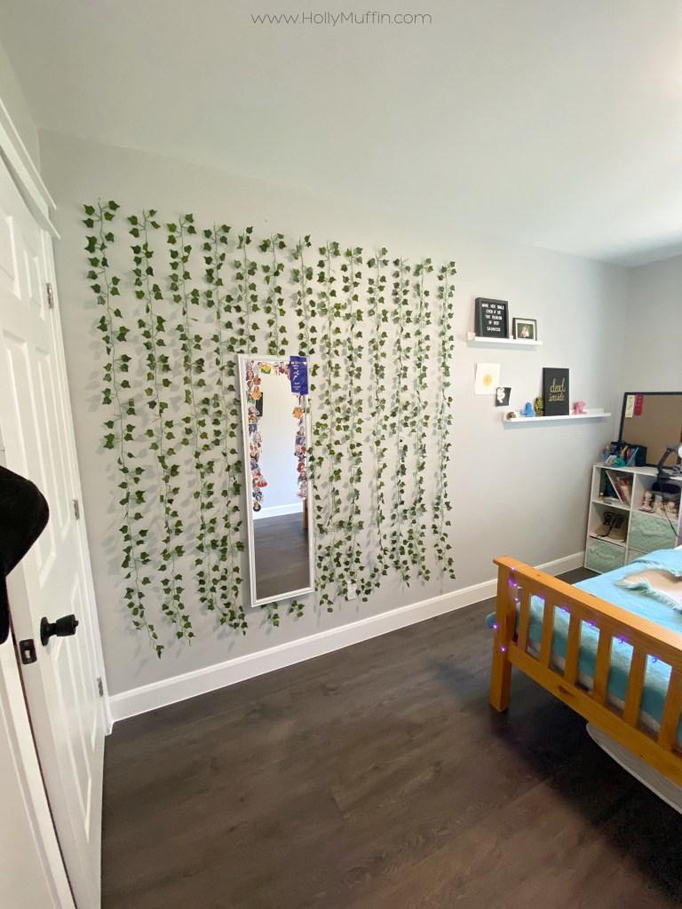 Artificial vine wall in bedroom