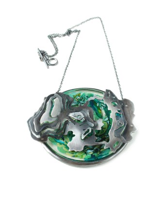 Personalised Botanical Contour Map Pendant