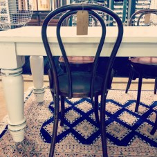 farm table and bentwood chairs