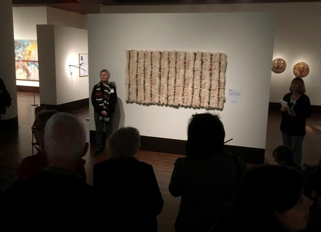 "Brenda Mallory is explaining her piece ""Reformed Spools"". At the Exhibition Conversations: Eiteljorg Museum 2015 Contemporary Art Fellowship."