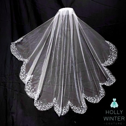 ivory waist veil with embroidered star scallop edging by Holly Winter Couture