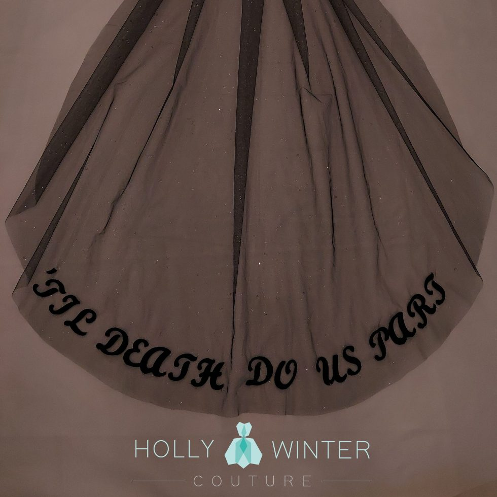 Til deatrg do us part black glitter chapel veil by Holly Winter Couture