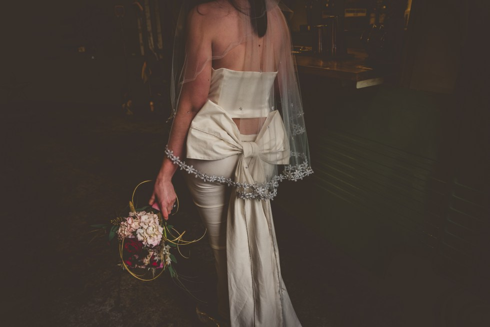 Bridal trousers with bow train by Holly Winter Couture