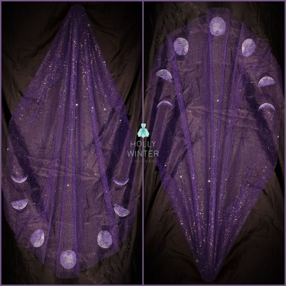 Purple veil embroidered with phases of the moon by Holly Winter Couture