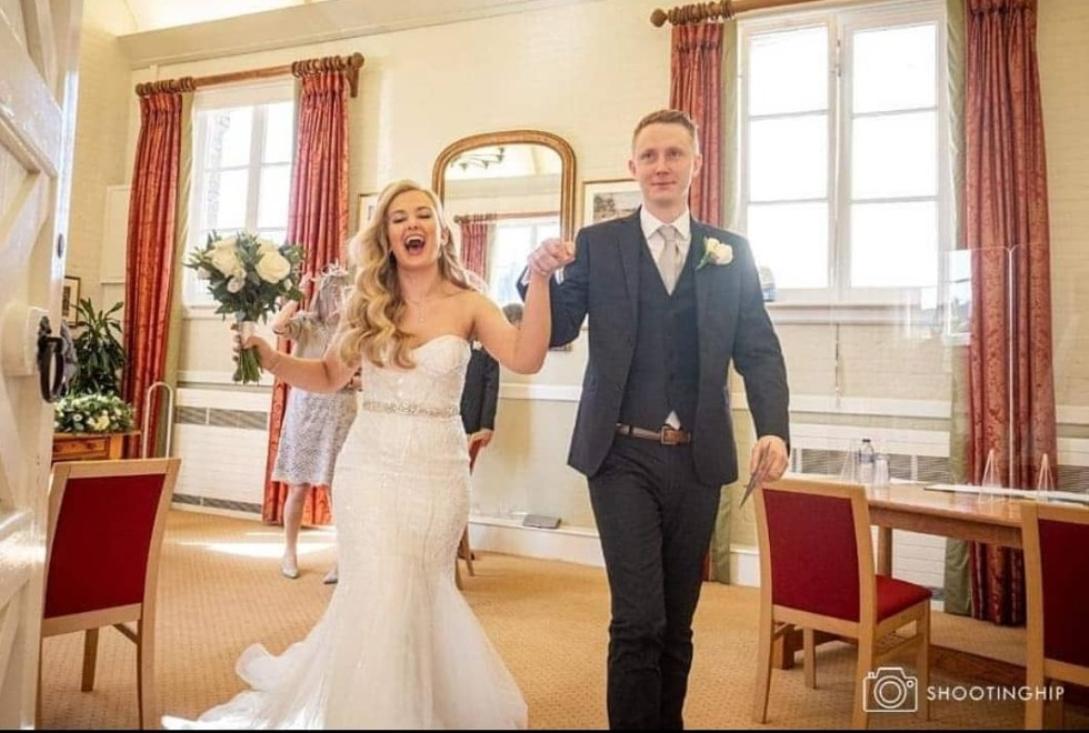 Microwedding 2021 BBC News Jonny and Jess. Wedding dress alterations by Holly Winter Couture seamstress dressmaker Surrey Hampshire Berkshire