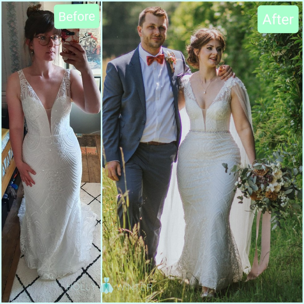 Real bride Catherine Carini in her wedding dress with alterations by Holly Winter Couture. 2021 wedding. Real customer.