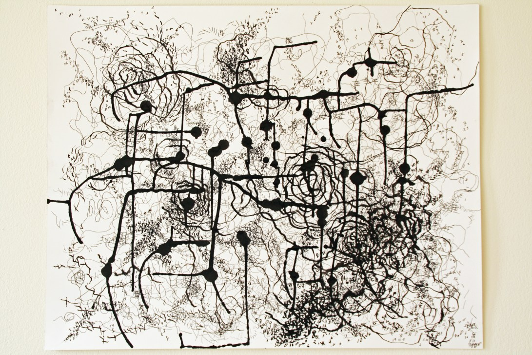 """1.  """"Pathway,"""" (series of 2), 2014, Ink on paper, each measuring 19""""H x 24""""W."""