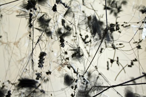 """""""Gathering"""", (Detail 1) Thread, yarn, tulle, plastic bags, wire and string, 8'H x 10'W x 6'D, 2014"""