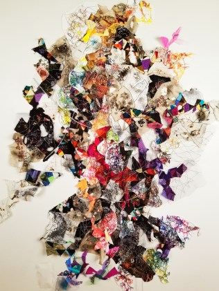 """""""Lost Language II"""" (Overview) 2018, Embroidered linen, fabric, tulle, painted paper, magazine clippings and thread, 6'H x 4'W."""