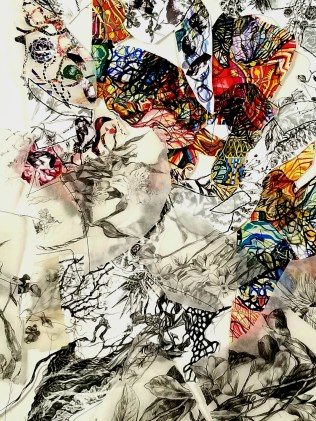"""""""Flight of Thought"""" (Detail 1) 2018, Gauche, ink and graphite on paper, transparency film and thread, 3'H x 2'W."""