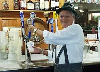 Arland a long time member pouring the first official oktoberfest beer of