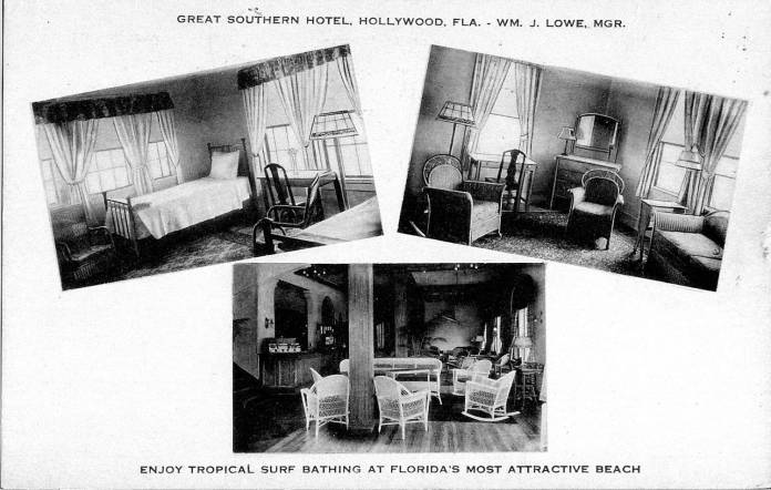 Great Southern Hotel, interior views. 1924-25. Postcard. Courtesy Hollywood Historical Society.Great Southern Hotel, interior views. 1924-25. Postcard. Courtesy Hollywood Historical Society.