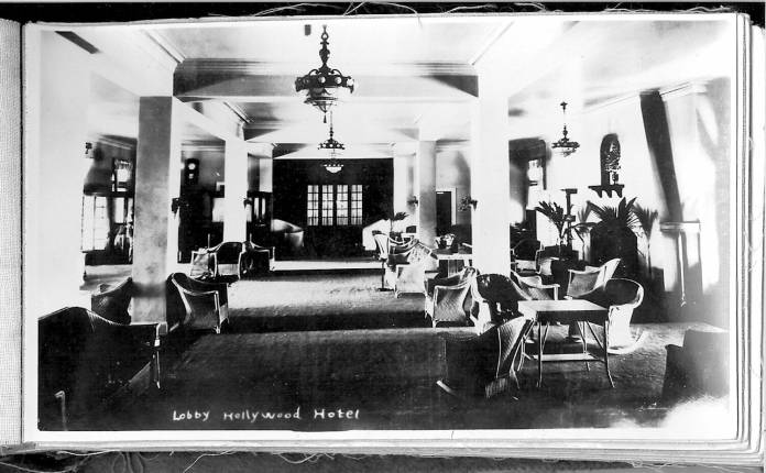 Park View Hotel lobby 1922. Page from a salesman's book. Courtesy Hollywood Historical Society.
