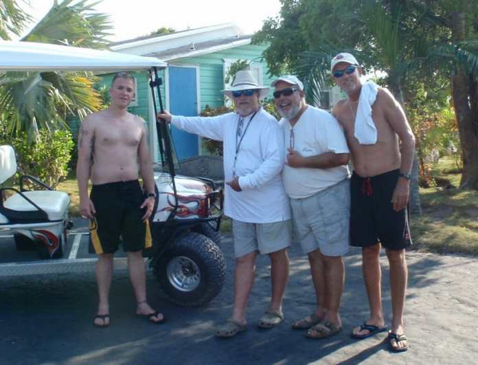 L-R: Brian Hershey, Billy, Tommy Atonopoulos and Don Scully in the Bahamas