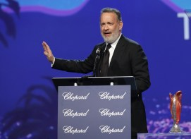 PALM SPRINGS, CA - JANUARY 02: Actor Tom Hanks speaks onstage at the 28th Annual Palm Springs International Film Festival Film Awards Gala at the Palm Springs Convention Center on January 2, 2017 in Palm Springs, California. (Photo by Todd Williamson/Getty Images for Palm Springs International Film Festival)