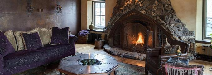 Gothic Living Room with Fireplace