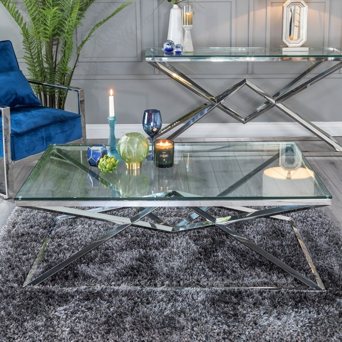 Pyramid Coffee Table Glass and Stainless Steel Chrome