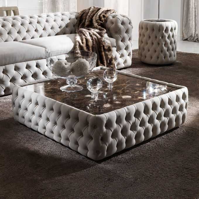 Upholstered Set White Leather Coffee Table