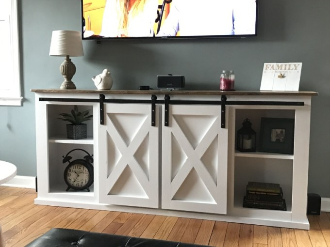 Wood TV Stands with Sliding Doors
