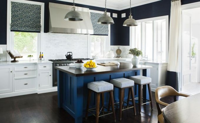 Black and White Kitchen with Blue Island