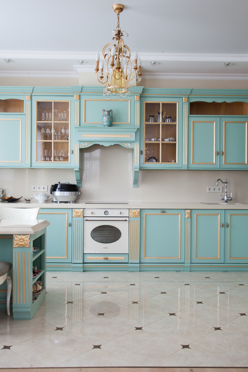 Dainty and Luxurious Kitchen with Teal