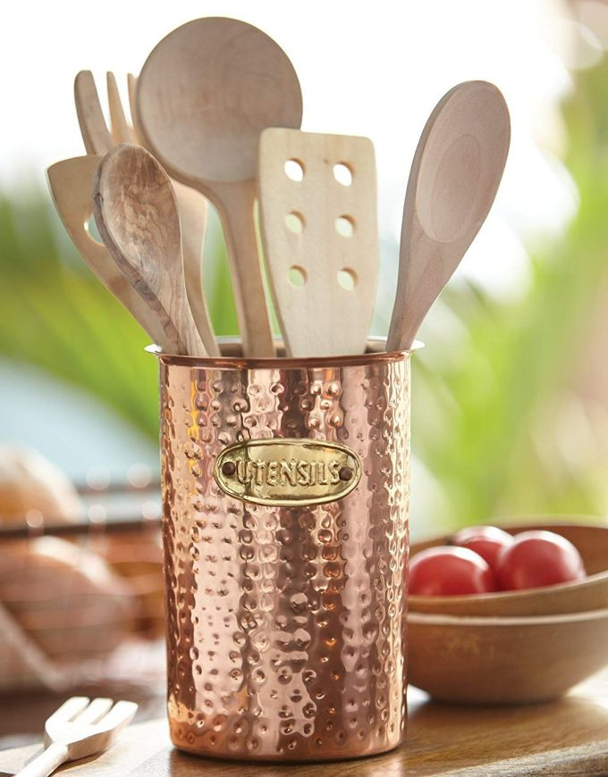 Hammered Copper Utensil Container