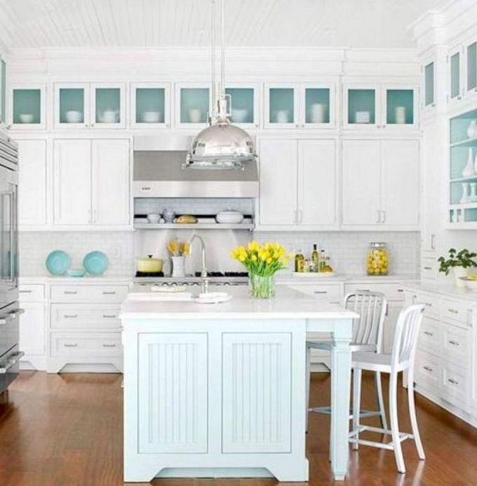 Light Teal and White in Coastal Kitchen