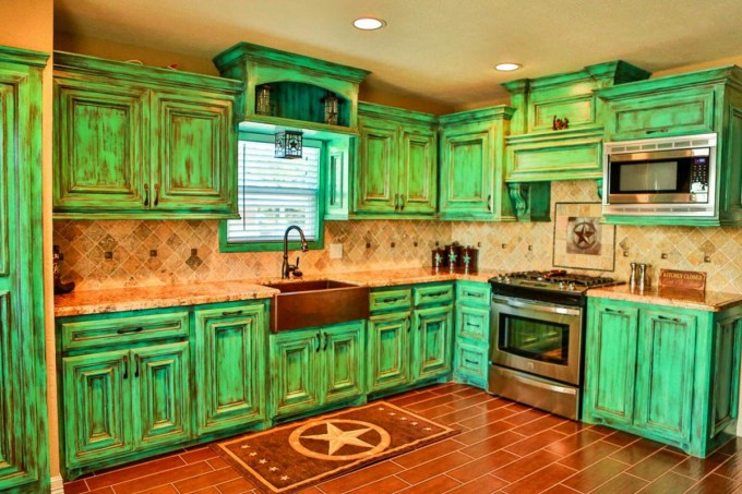 Rustic Green Cabinet in Copper-Colored Kitchen