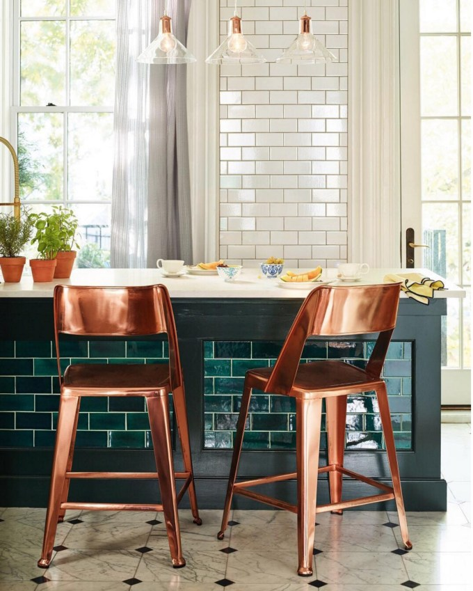Subway Teal Tile and Copper Chairs