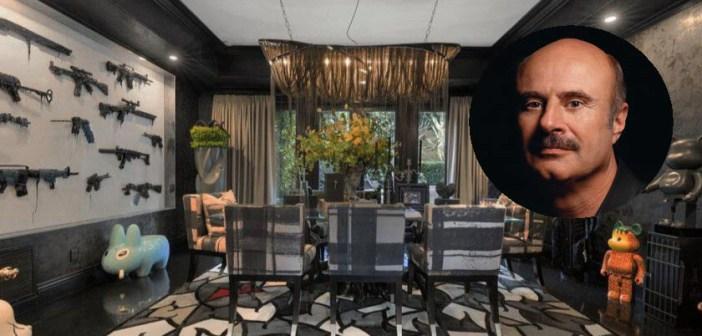 MOET JE ZIEN! DR. PHIL zet zijn extravagante villa (met eetkamer met muur vol geweren) te koop