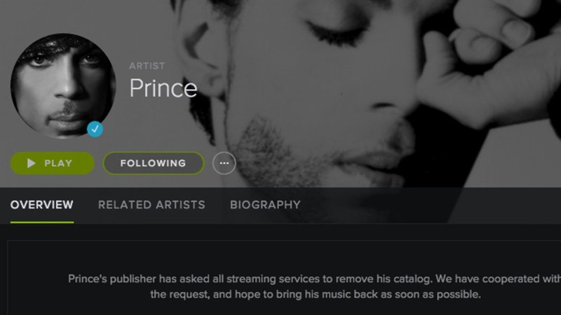 Prince returns to Spotify and other streaming services