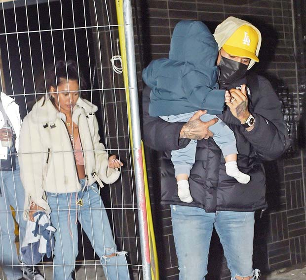 Ammika Harris, Chris Brown & their son Aeko