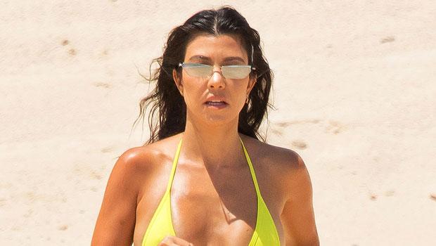 Kourtney Kardashian Quotes Drake While Sunbathing In Sexy White Tank Top & Bikini Bottoms – Pic